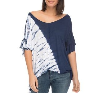 B by Bobeau Trishe Navy Tie- Dye Dolman Blouse Top